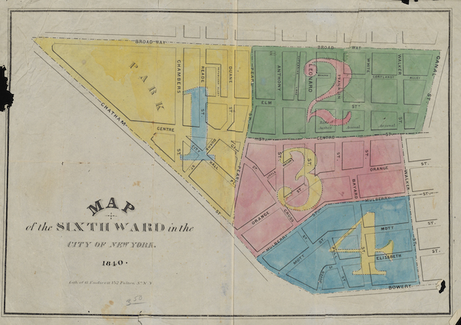 Map of the Sixth Ward in the City of New York in 1840, showing the area from Bowery to Broadway between Chatham Street and Walker and Canal Streets, divided into four zones, each numbered and colored yellow, green, pink, or blue.