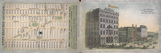 Trade card with map showing location of Stern Brothers and image of new building on West 23rd Street.