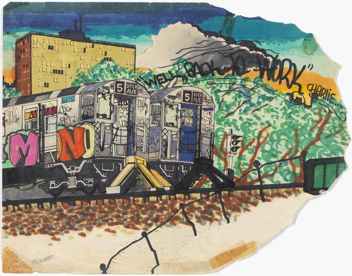Dessin coloré d'un métro avec des lettres roses, oranges et jaunes peintes sur le côté de la voiture du métro de New York. En arrière-plan, il y a un bâtiment marron et jaune, des arbres verts et un ciel bleu.