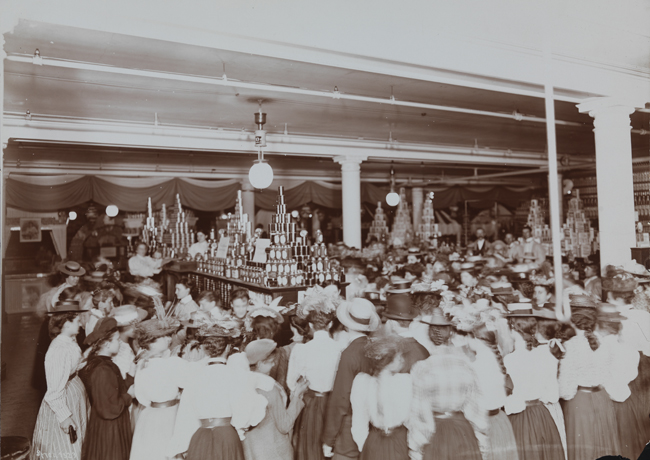Crowds of women inside the Siegel Cooper department store.