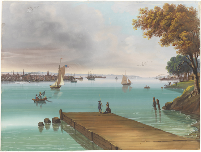 Gouache of a dock on the waterfront, with many small boats on the water.