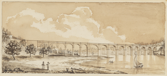 Ink drawing of the Croton Aqueduct at Harlem River. In the lower left, two people stand on the shore. A small boat is on the river in the lower right. Large clouds fill up the sky about the aqueduct.