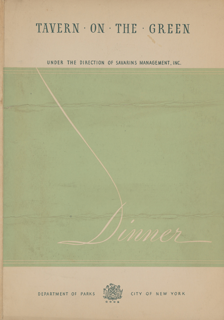 Front cover of dinner menu of Tavern on the Green for April 30, 1937.
