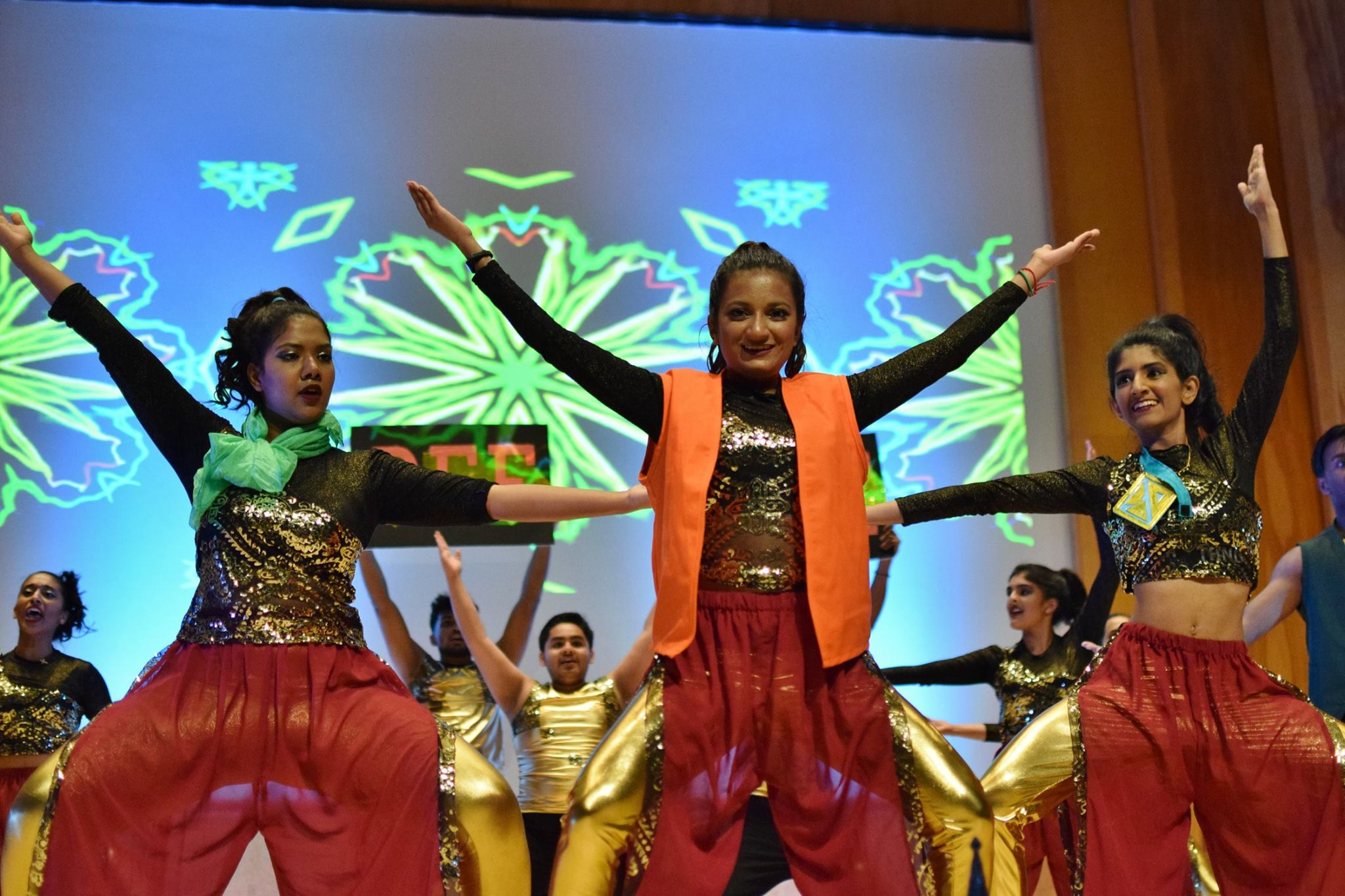 Dancers perform during a Diwali celebration.