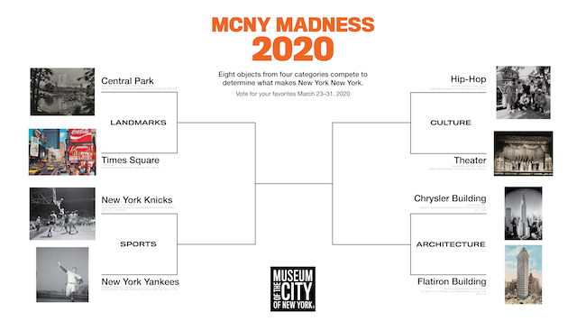 Bracket diagram showing the eight contenders for the MCNY Madness Challenge, March 2020