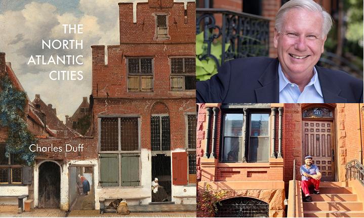 Imágenes de la portada del libro de North Atlantic Cities de casas en hilera, foto de la cabeza de Charles Duff, imagen de Monxo López frente al edificio de piedra rojiza