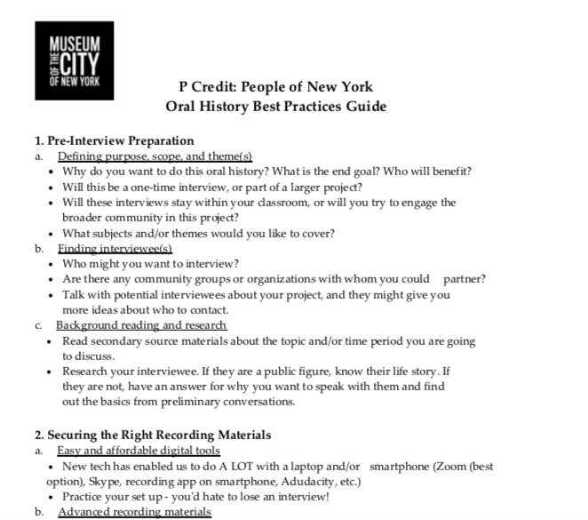 Document shows the Oral History Best Practices Guide created by MCNY Staff. This view shows points 1 and 2.