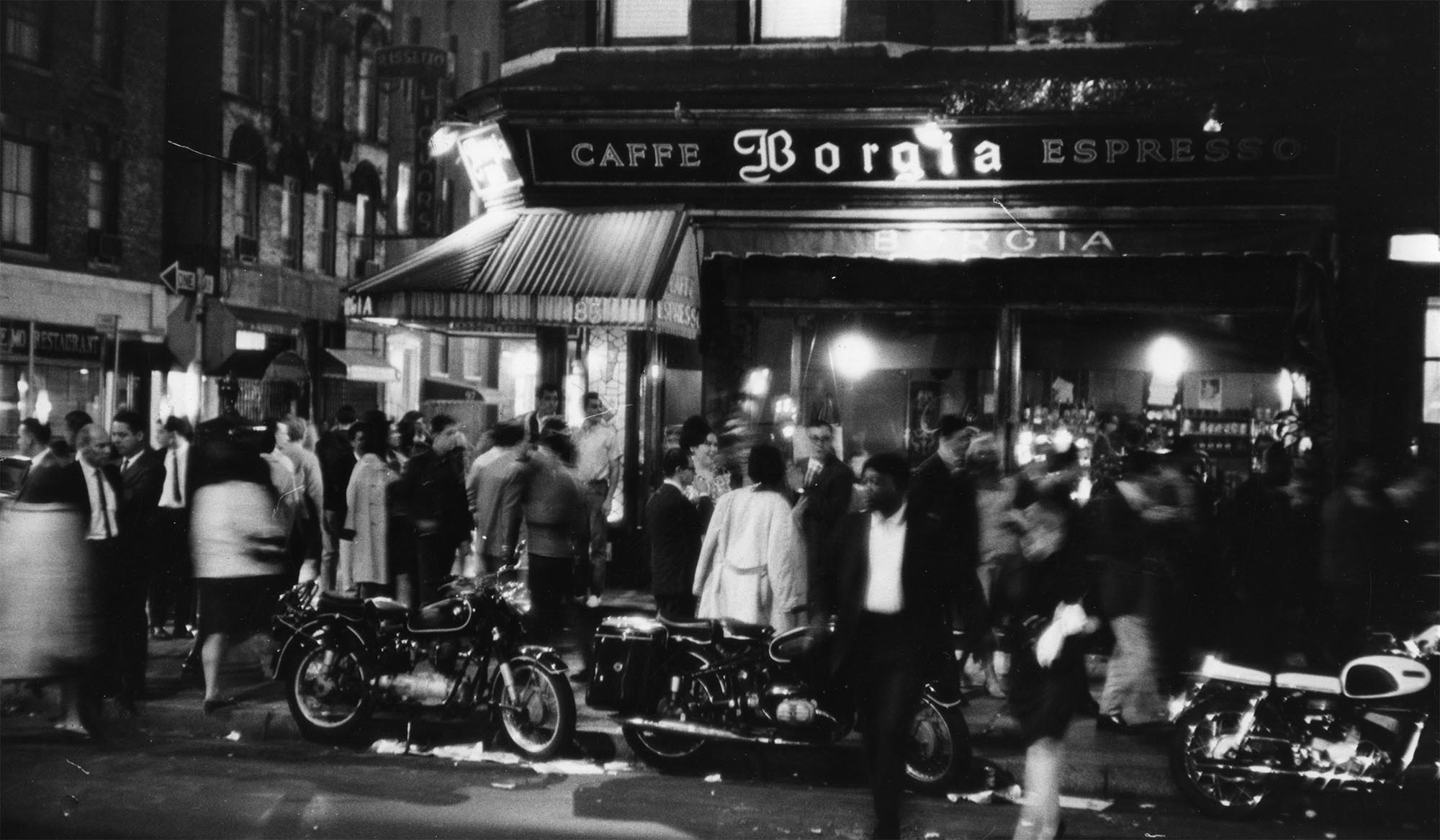 Outside the Caffe Borgia, at MacDougal and Bleecker Sts., 1966