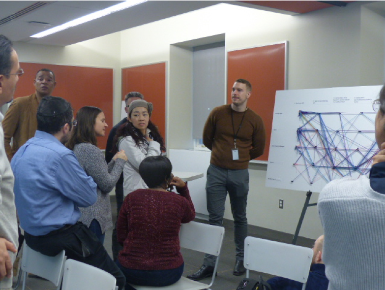 Teachers discuss a data visualization that uses strands of yarn to chart their responses to questions about their attitudes towards New York City's present and future