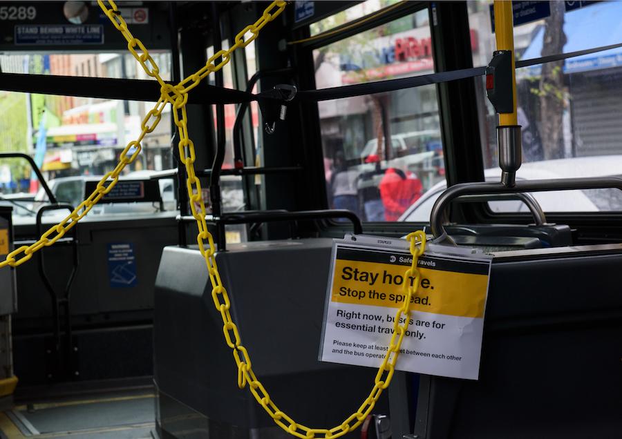 Social distance barrier on a New York City bus.