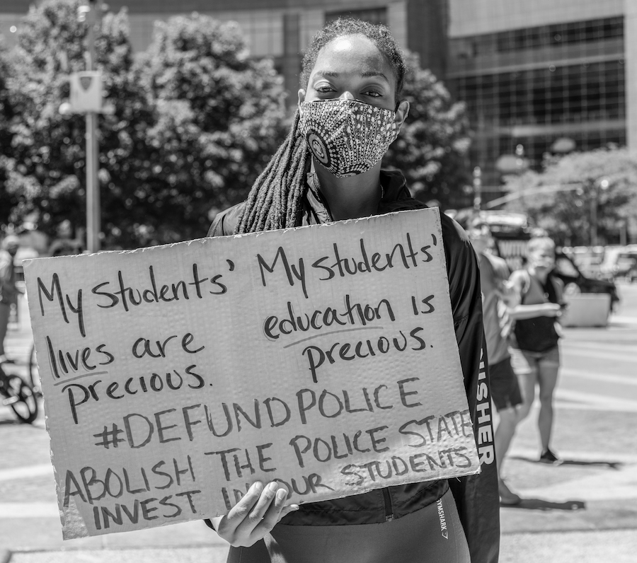 A teacher at a Black Lives Matter march.