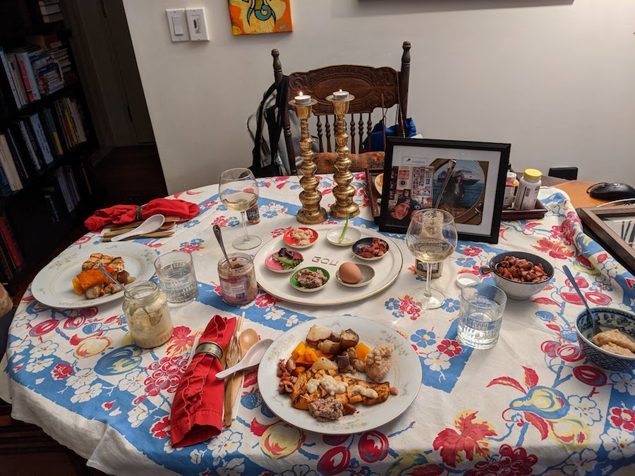 Passover Seder table with just two place settings
