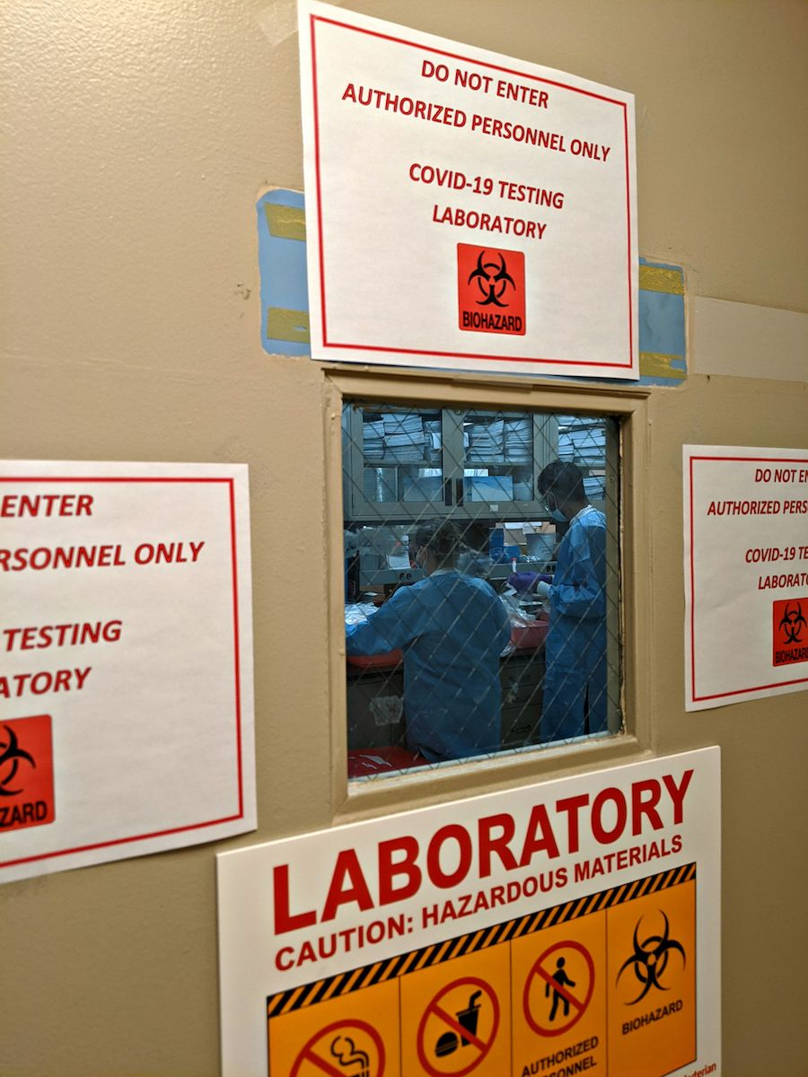 Door to a laboratory with hazard signs around the window. Through the window you can see two doctors working.