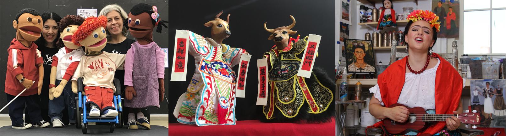 Imágenes de marionetas e intérpretes de NYC Kids Project, Chinese Theatre Works y Teatro SEA.