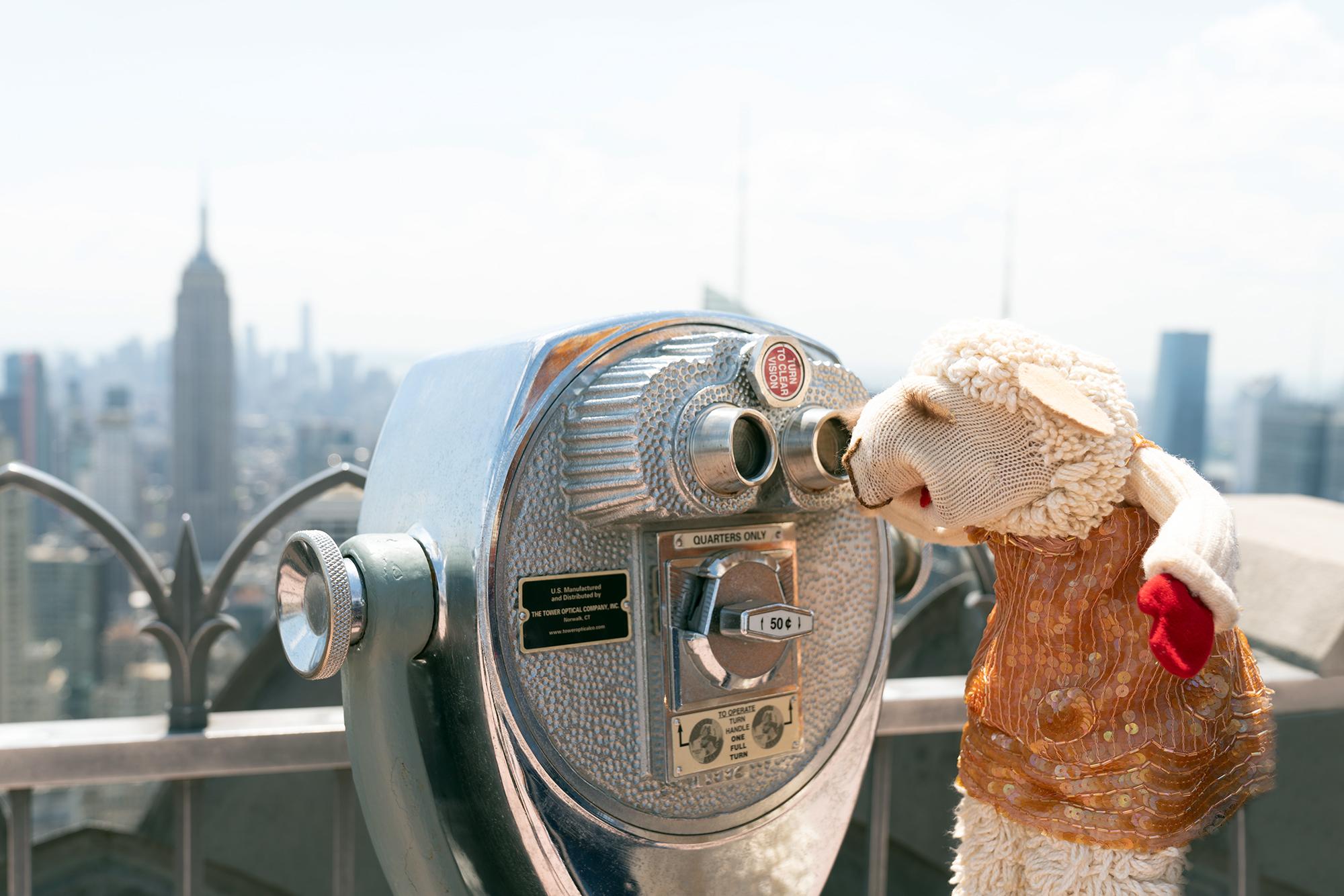 Lamb Chop no deck de observação do Rockefeller Center