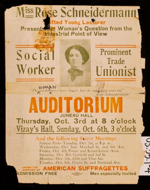 전단지는 노조 운동가이자 객관주의 자 로즈 슈나이더 만이 1912 년 강의를 홍보합니다.