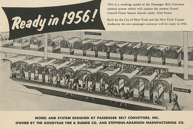 「Ready in 1956!」というタイトルのパンフレット。コンベアベルト上の乗用車のイラスト