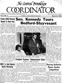 "Front page of ""The Central Brooklyn Coordinator,"" with the main headline ""Sen. Kennedy Tours Bedford-Stuyvesant."" A photo of the Senator standing at a table with 3 seated individuals is below, surrounded by text and other articles."