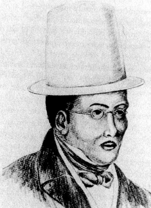 Desenho da cabeça e ombros de um homem negro de perfil. O homem usa terno, cartola e óculos e tem uma gravata amarrada elegantemente em volta do pescoço.