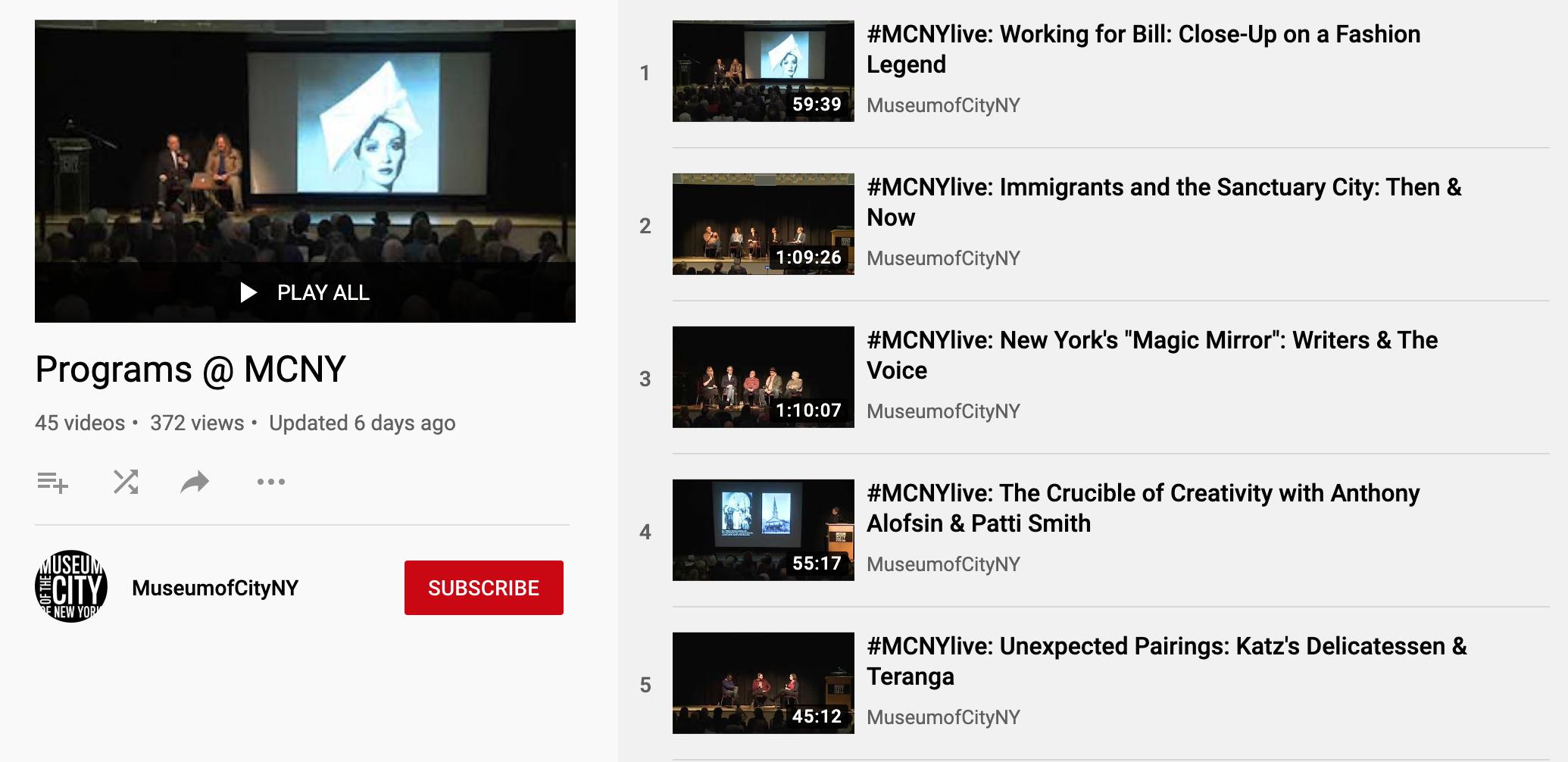 Programas @ MCNY Miniatura de la lista de reproducción de YouTube