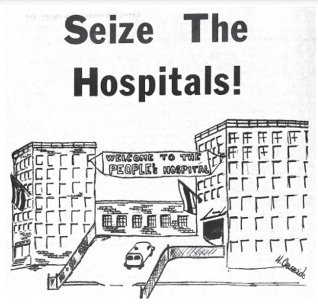 """Uma ilustração que mostra o Hospital Lincoln com uma faixa colocada no topo do prédio que diz """"Bem-vindo ao Hospital do Povo"""". A ilustração é intitulada """"Aproveite os hospitais!"""""""