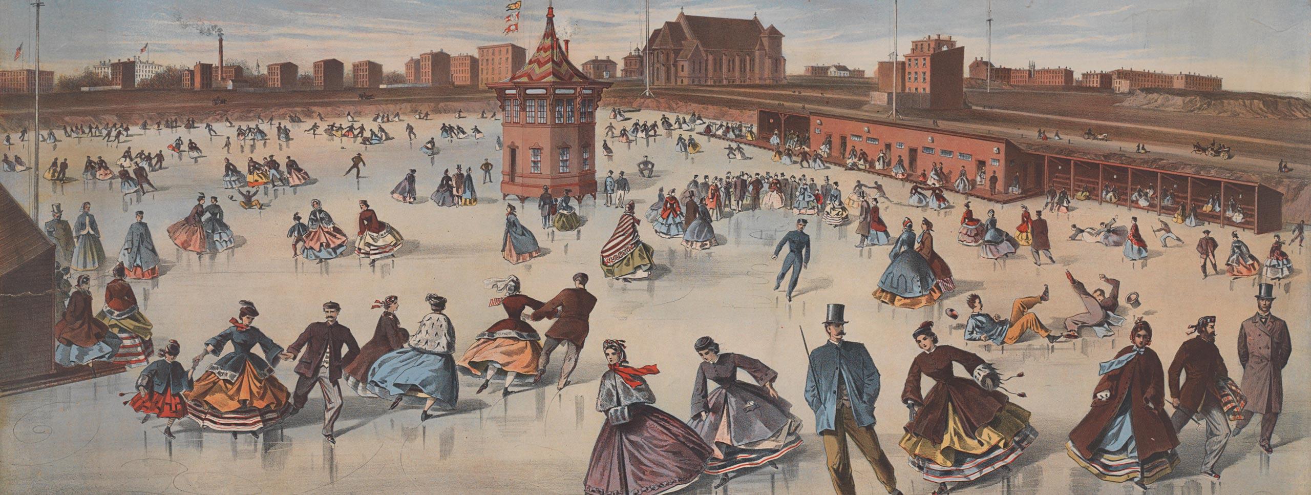 1800 년대 중반에는 사람들이 아이스 링크를 큰 스케이트장에서 인쇄했습니다. 도시 건물은 배경에서 볼 수 있습니다.