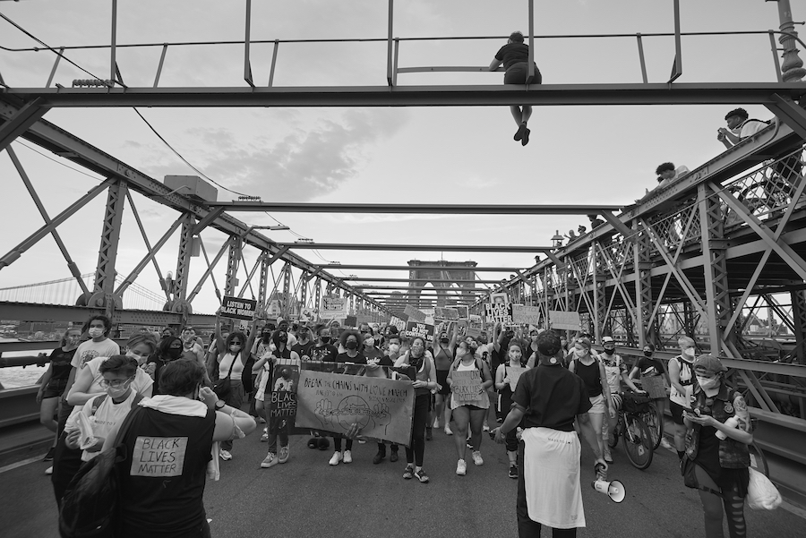 A demonstration on a bridge in Brooklyn during Juneteenth.