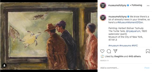 Capture d'écran de la publication Instagram #MuseumMomentOfZen avec la première image publiée sur ce hashtag de la collection Musées
