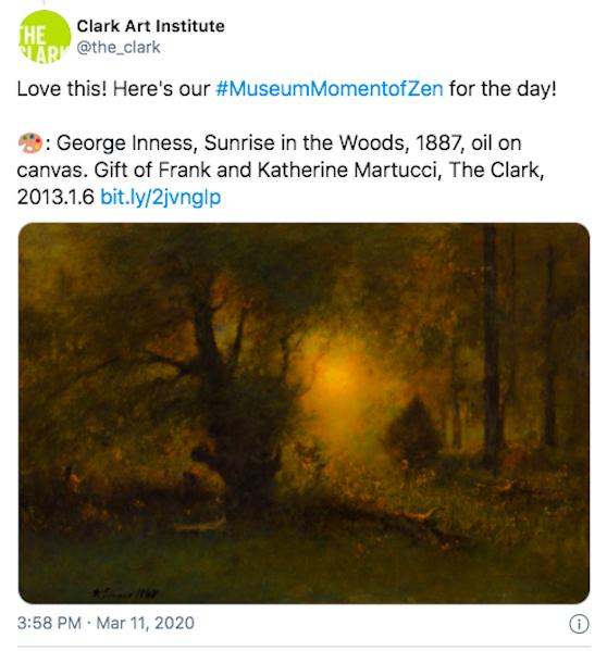 Capture d'écran du tweet de Clark Art Institute avec #MuseumMomentOfZen.