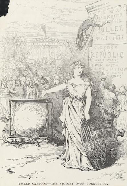 Desenho de uma mulher em um vestido clássico em frente e apontando para uma grande urna.
