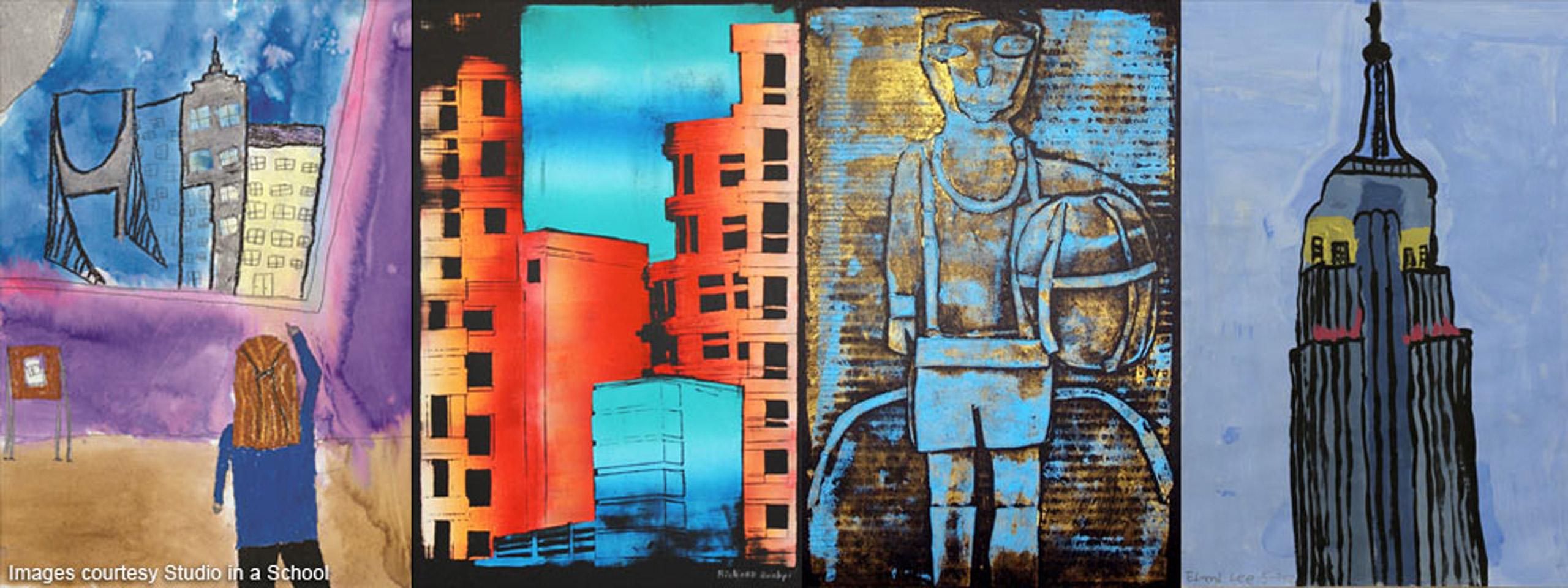 Cuatro pinturas hechas por estudiantes en Nueva York. Las pinturas son de hitos, edificios y vida cotidiana en la ciudad.