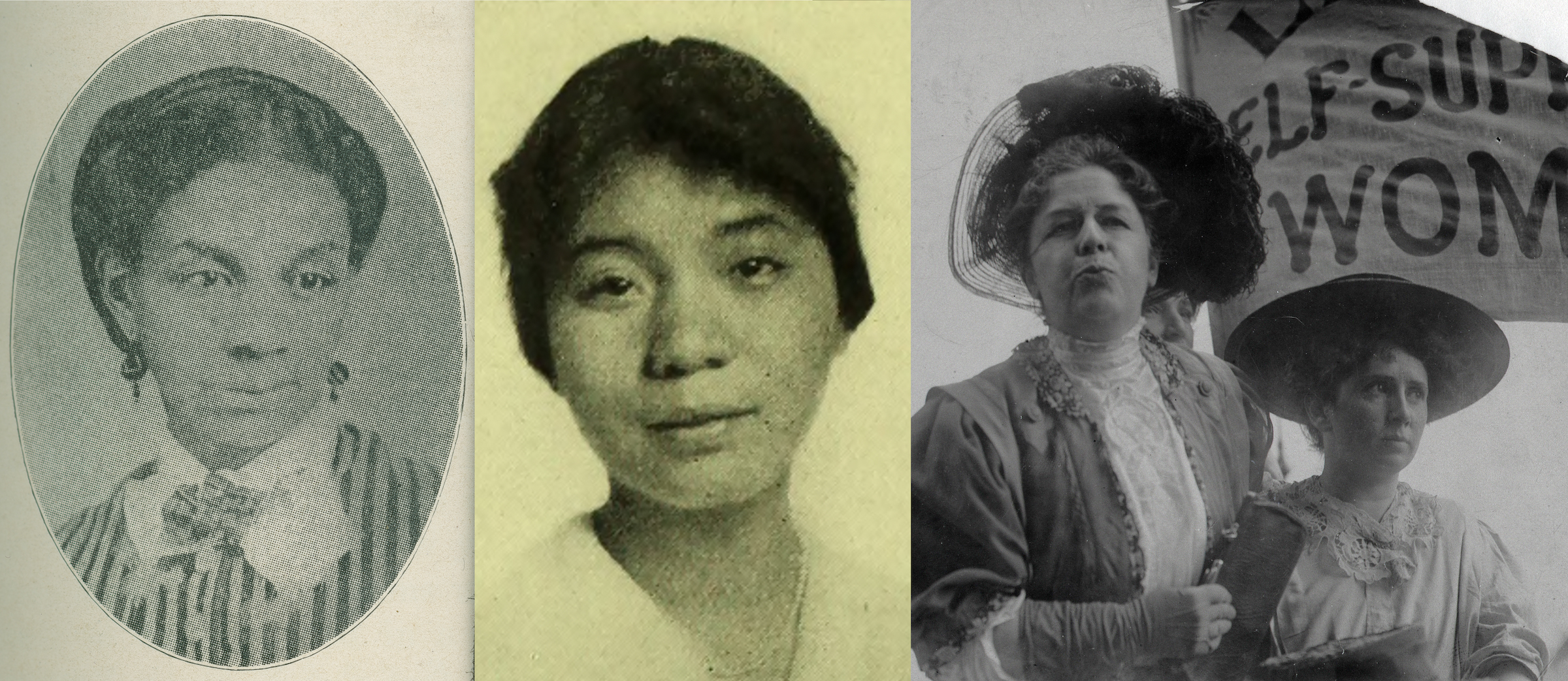 Banner image with portraits of Sarah J.S. Tompkins Garnet and Mabel Lee, and image of Harriot Stanton Blatch and Rose Schneiderman