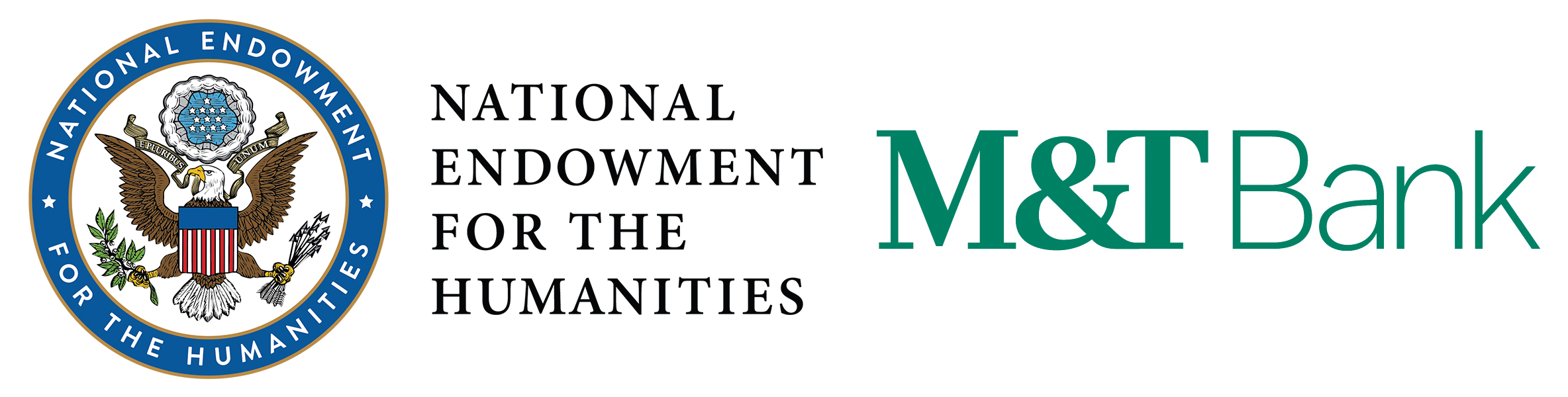 Logos for the National Endowment for the Humanities and M&T Bank