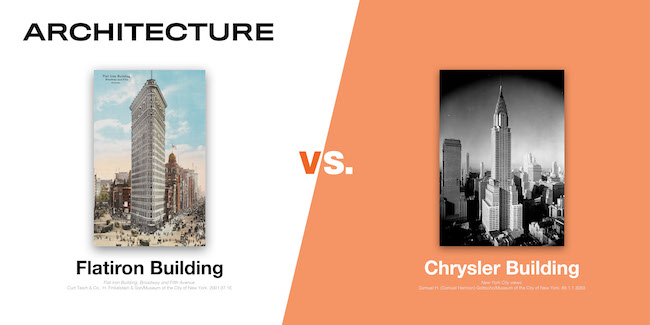 Images of the Flatiron Building and the Chrysler Building, two the eight contenders in the MCNY Madness Challenge, March 2020