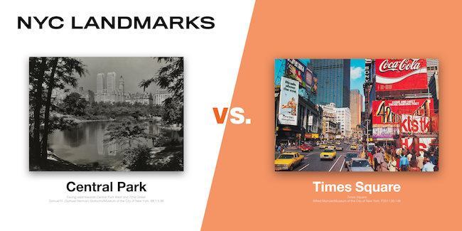 Images of Central Park and Times Square, two the eight contenders in the MCNY Madness Challenge, March 2020
