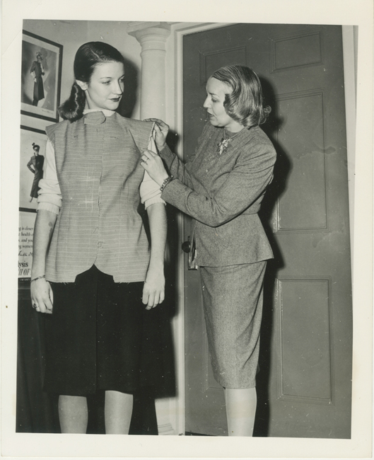 "A photo of Vera Maxwell fitting a model for Museum of the City of New work's ""A Salute to Vera Maxwell"" back in 1942."