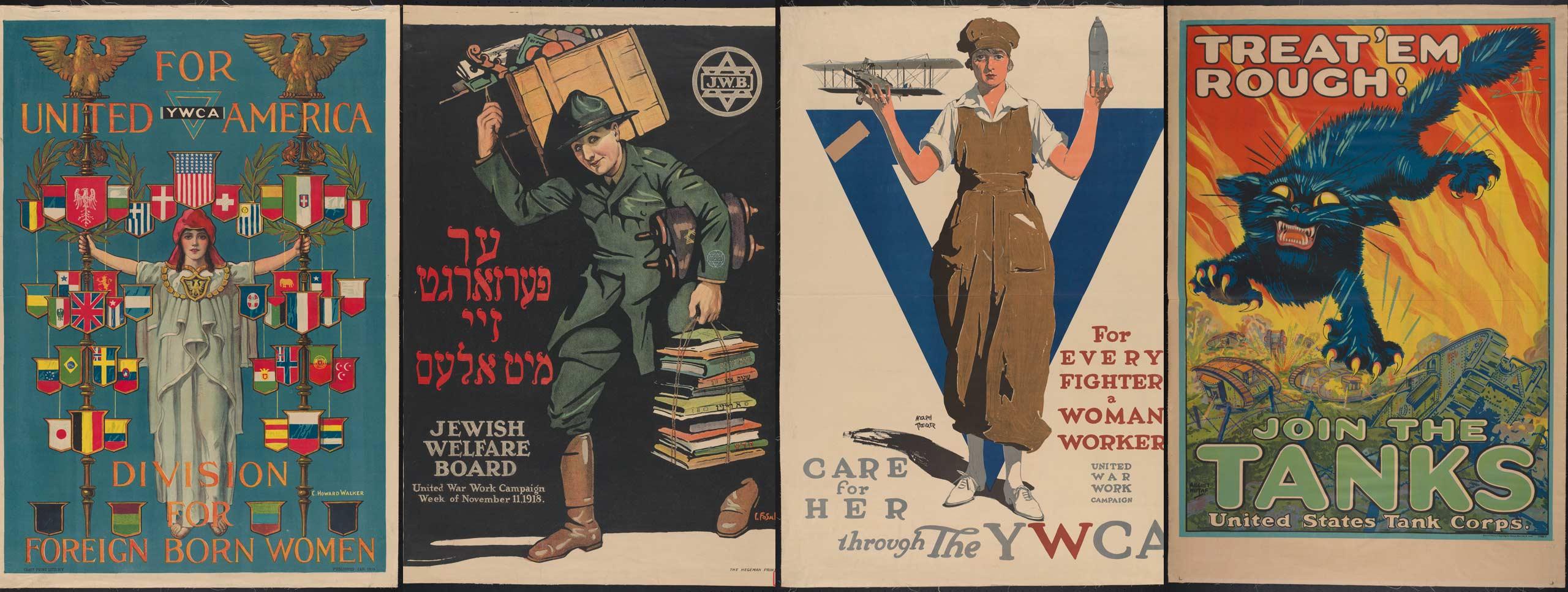 Cuatro carteles de la Primera Guerra Mundial que alientan a diferentes grupos a participar en el esfuerzo de guerra a través del trabajo, el alistamiento y más