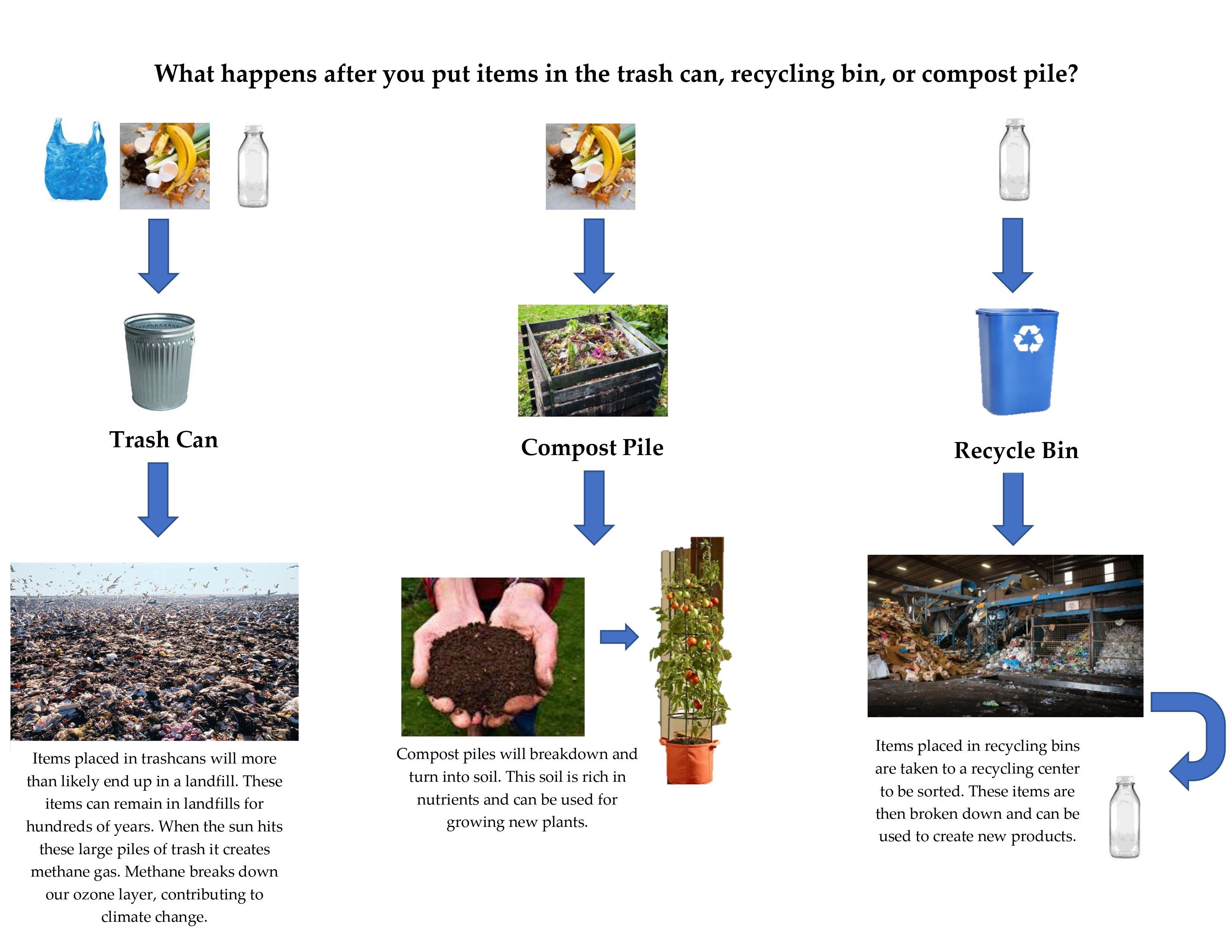 Diagrama que muestra a dónde van los diferentes tipos de desechos, ya sea reciclados, compostados o desechados.