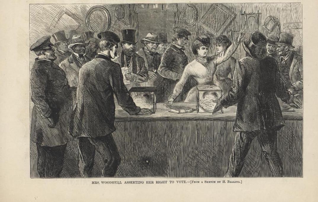 Gravura de um desenho animado de Victoria Hoodhull tentando lançar um voto em uma urna de vidro.
