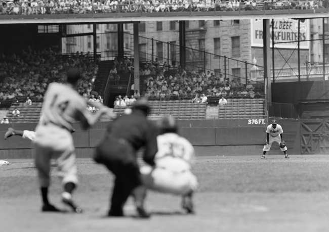 Jackie Robinson stands on second base during a game at Ebbets Field with the Brooklyn Dodgers