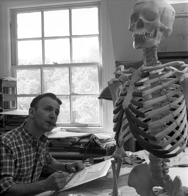 Le Dr Frank Netter est assis à un bureau, fumant un cigare et dessinant un modèle de squelette humain qui se trouve devant lui.