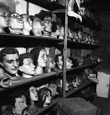 Des têtes de cire sont assises sur des étagères dans l'atelier de Hattie McKeever