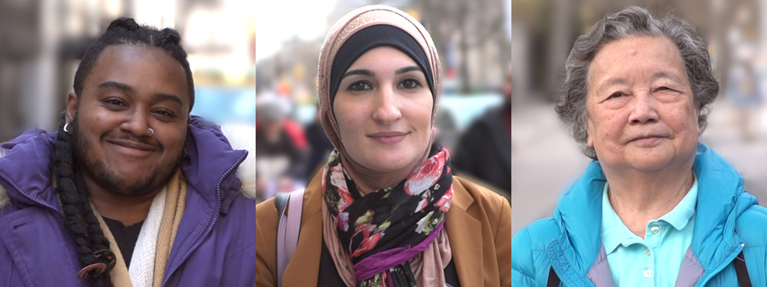 Portraits of three activists featured in the Activist New York exhibition at the Museum of the City of New York