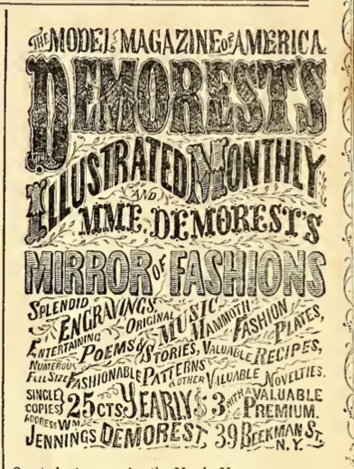 Anuncio de Demorest's Illustrated Monthly y Mme. El espejo de modas de Demorest, abril de 1865.