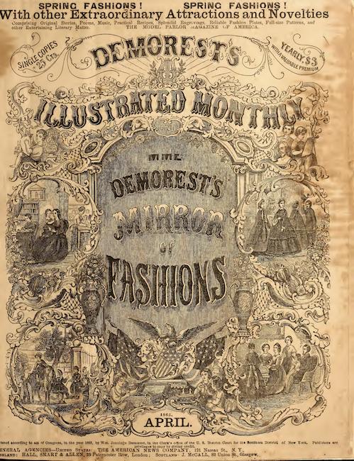 《 Demorest的插图月刊》和《 Mme》的封面。 德雷斯特的《时尚之镜》,1865年19月。标题文字周围环绕着XNUMX世纪服饰中较小的人物雕刻。