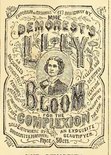 Mmeの広告。 DemorestのLilly Bloom for Complexion。 テキストは、19世紀の服を着た女性の彫刻を囲んでいます。