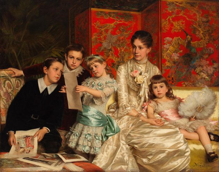 画着三个孩子的照片,一个女人坐在沙发上看着他们,一个女孩靠在她的脚上