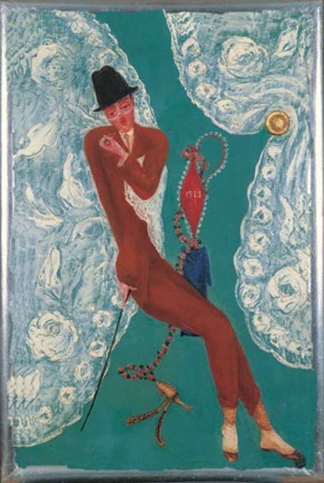 "Florine Stettheimer (1871-1944). Portrait of Louis Bouché, 1923. Oil on canvas, 20 x 18"". Heckscher Museum, Gift the Baker/Pisano Collection, 2001.9.235."