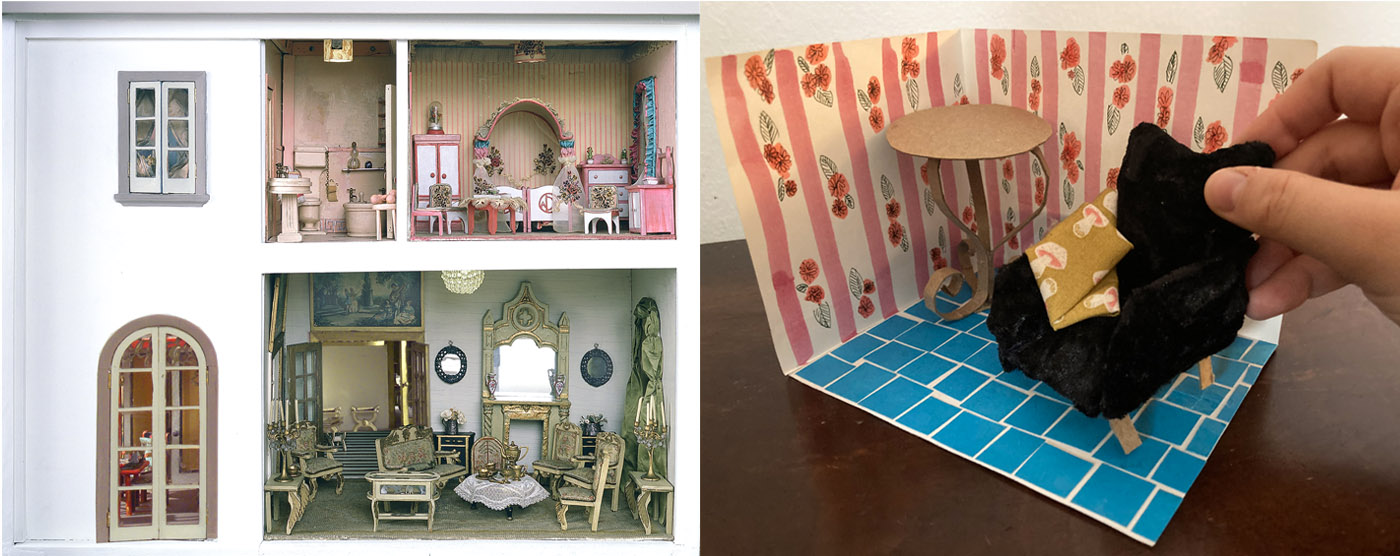 Left: a photo of the colorful rooms of the Stettheimer dollhouse. Right: a tiny room and furniture made from craft materials.