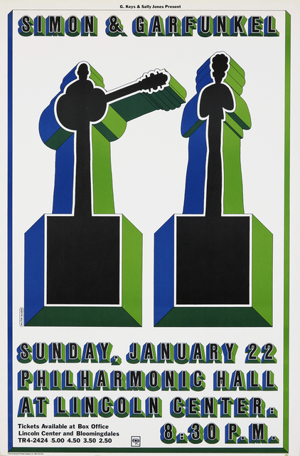 Poster for Simon & Garfunkel concert. Three-dimensional text appears at the top and bottom in black, green and blue. In the center, two figures appear as silhouettes on pedestals, in the same three-dimensional manner with the same colors.